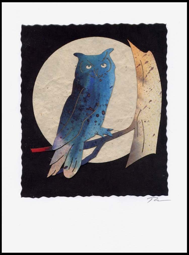 Blue Turtle 924 Owl Moon Handmade Greeting Card