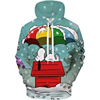 HZ-weiyi Unisex de Manga Larga Sudadera 3D Digital Print Snoopy Paraguas Modelo Fresco de La Manera de La Personalidad…
