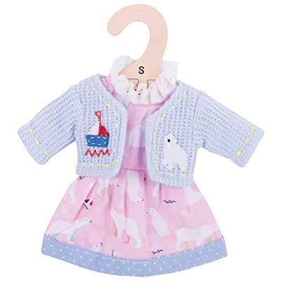 "Bigjigs Toys Pink Polar Bear Rag Doll Dress and Cardigan for 11"" Bigjigs Toys Soft Doll - Suitable for 2+ Years: Toys & Games"