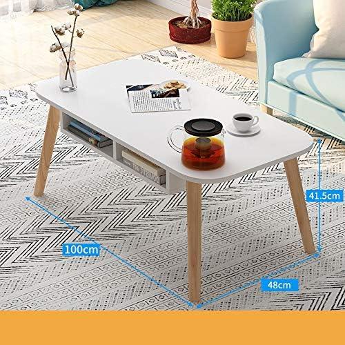 センターテーブル 現代のコーヒーテーブル、トップ長方形コーヒーテーブル、リビングルームのコーヒーカクテルテーブル モダンな装飾家具 (Color : White, Size : 100X48X41.5CM)