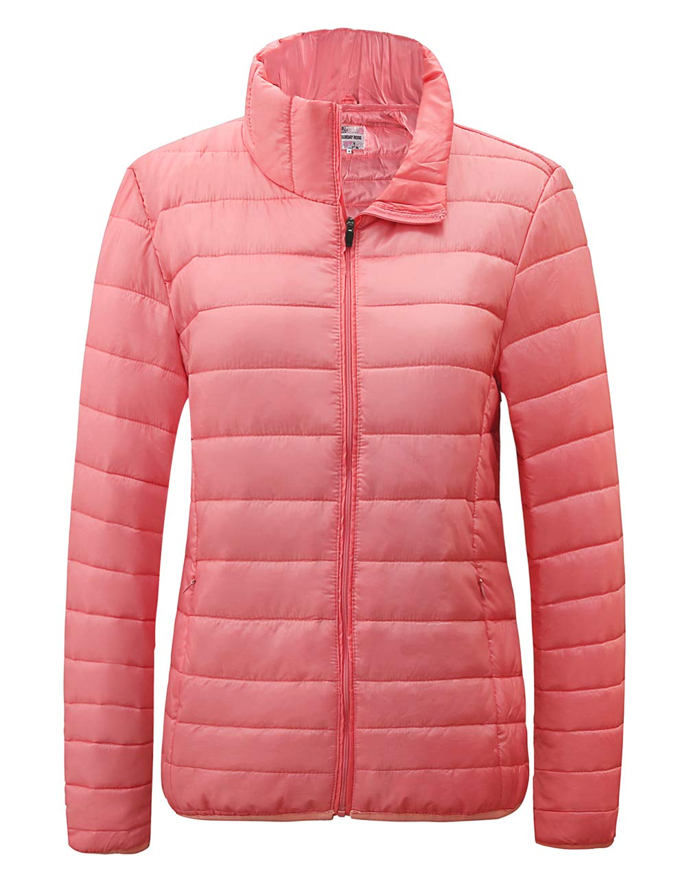 SUNDAY ROSE Packable Puffer Jacket Women Slim Fit Lightweight Quilted Jacket (Pink, Medium) by SUNDAY ROSE