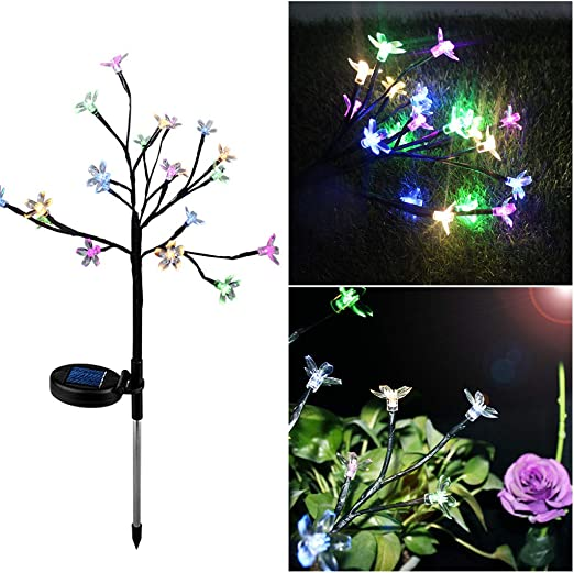 Watopi ramas de árbol de flores solares de cerezo con luces LED de grado exterior, luz de noche que cambia de color, impermeable, decoración para jardín, césped o patio: Amazon.es: Iluminación