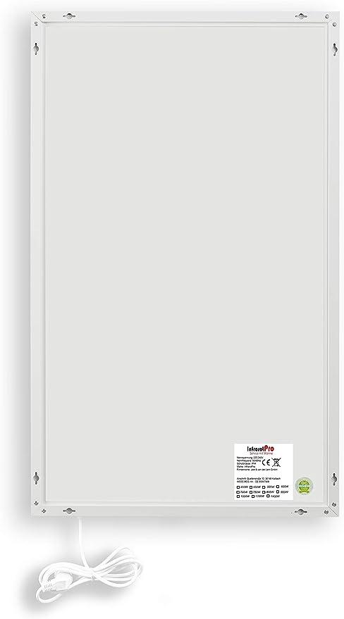 Blanc 300 W InfrarotPro Chauffage Infrarouge 300-1400 W ✓ S/érie P 15 Ans ✓ 60 x 60 x 1 cm ✓ Fabricant Allemand ✓ Produit test/é