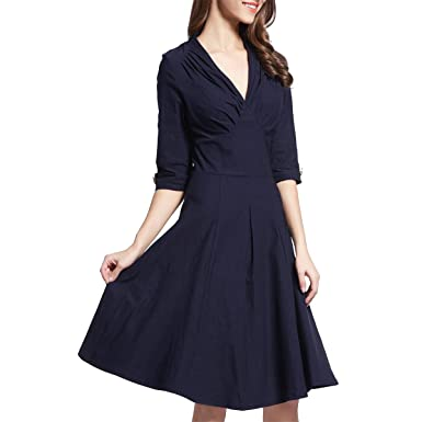 Sweetmeet Womens 50s Audrey V Neck Work Flared Evening Swing Skaters Dresses S Navy Blue