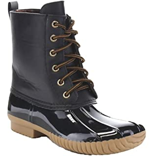 86b44f4f985 Charles Albert Women Stitching Lace up Waterproof Insulated Calf Rain Duck  Boot