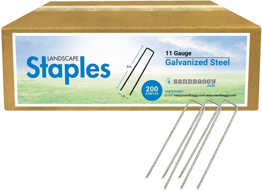 "Sandbaggy 6"" Galvanized Landscape Staples ~ SOD Staples Garden Stakes Square Pins (200)"