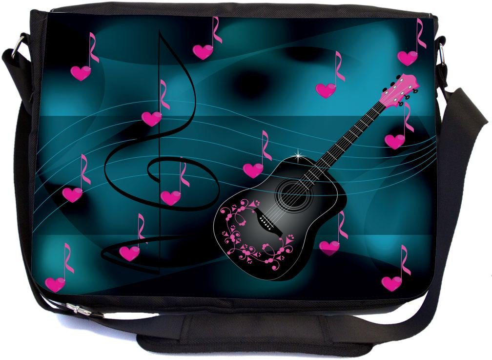 Rikki Knight Guitar Pink Love Hearts Design Premium Messenger Bag - School Bag - Laptop Bag - with Padded Insert for School or Work - with Matching Pencil Case