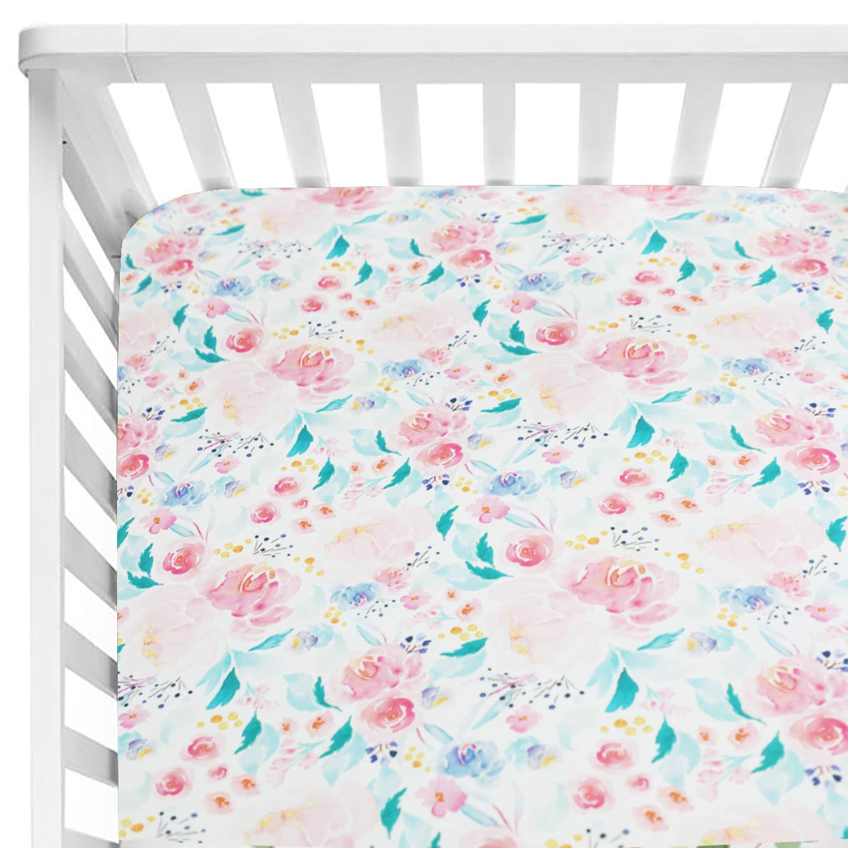 Sahaler Floral Crib Sheet for Girl Boy Baby Fitted Crib Sheets for Standard Crib and Toddle Mattresses-Teal Green & Pink Floral