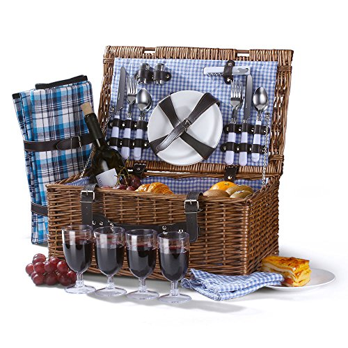Flexzion Picnic Basket for 4 - Picnic Basket Hamper Set with Flatware, Tableware, Plates and Wine Glasses, Blue Checked Pattern Lining and Picnic Blanket