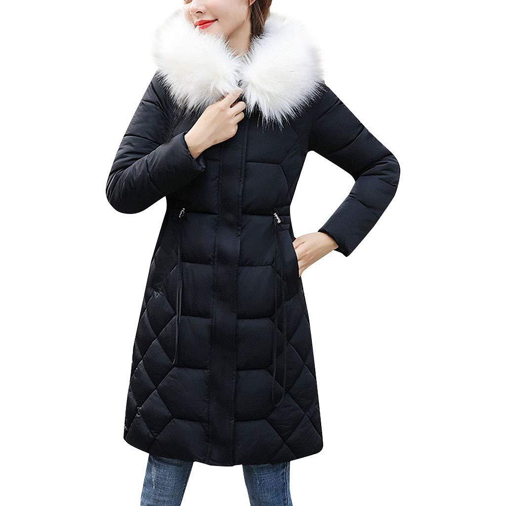 Eoeth Women Casual Down Jacket Plush Thicken Long Sleeve Hooded Coat Winter Warm Shearling Shaggy Cotton Outwear Tunic Black by Eoeth