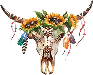 DIY 5D Diamond Painting Numbering Kit Bohemian Watercolor Bull's Head Flowers Feathers White Boho Skull 16