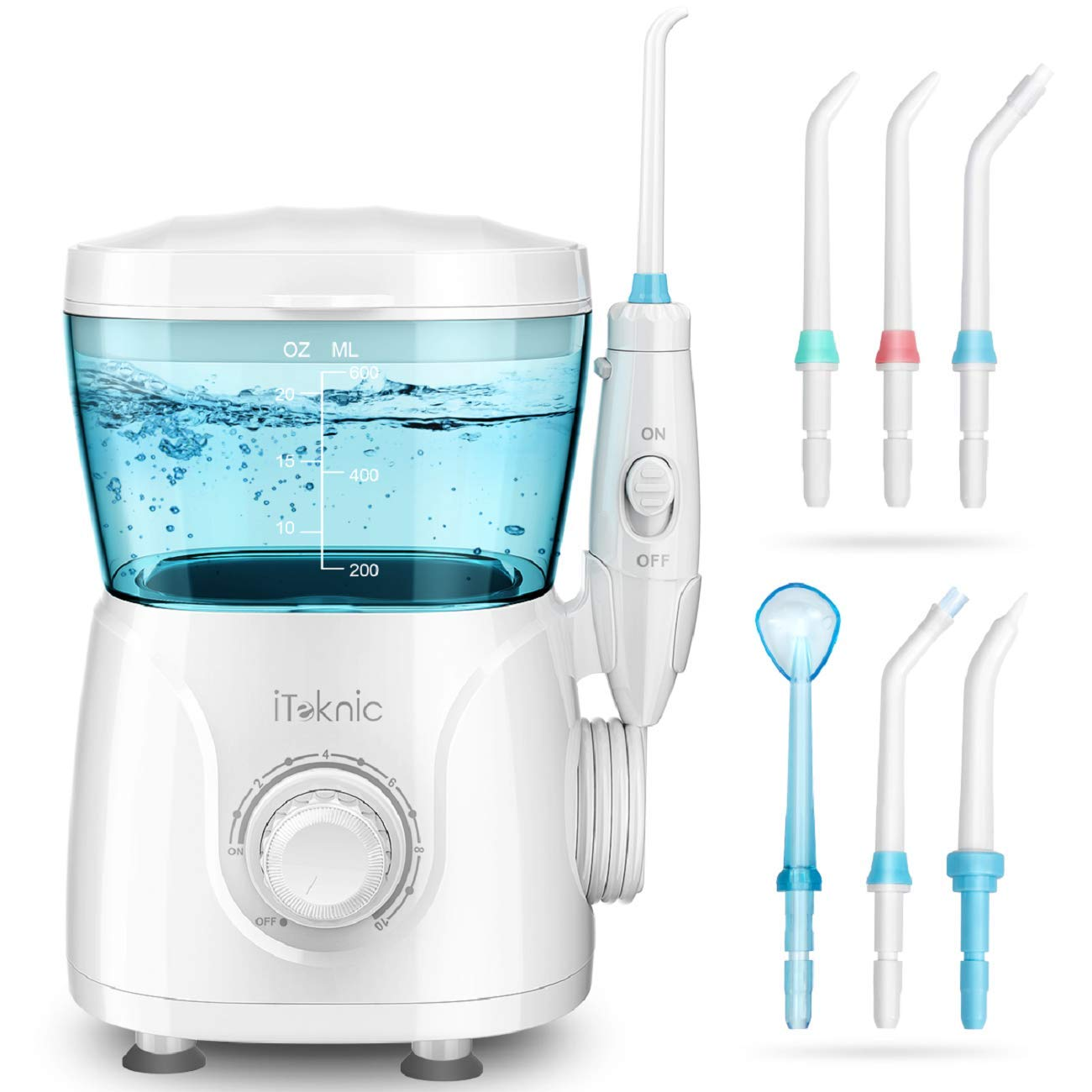 iTeknic Water Flosser Dental Oral Irrigator for Teeth Brace Clean with 10 Adjustable Water Pressure, 600ml Capacity, 7 Jet Tips, 180Sec Electric Professional Flosser for Family,FDA Approved by iTeknic