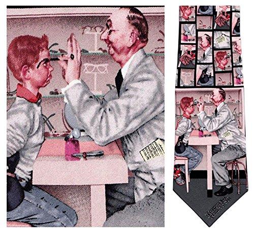 Museum Artifacts Mens Optometrist Norman Rockwell Necktie - Blue - One Size Neck Tie