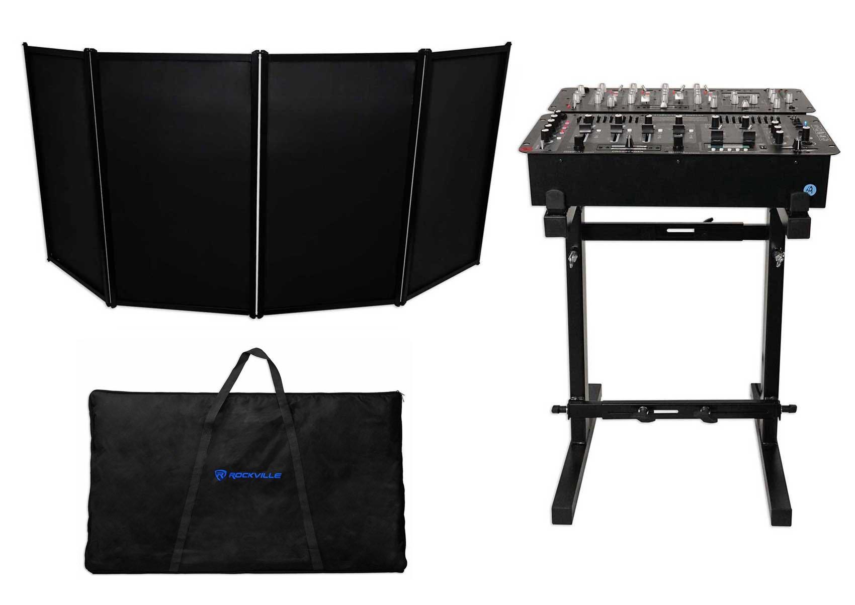 Rockville RFAAB DJ Event Facade Light Weight Booth+Travel Bag+Scrim+Mixer Stanad by Rockville