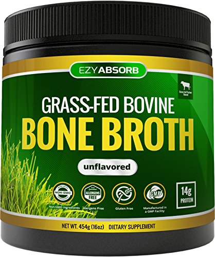 EzyAbsorb Bone Broth Protein Powder, 454g/16oz 30 Servings - Certified Paleo-Friendly - Natural Non-GMO Beef, Gluten Free Unflavored (Grass-Fed)