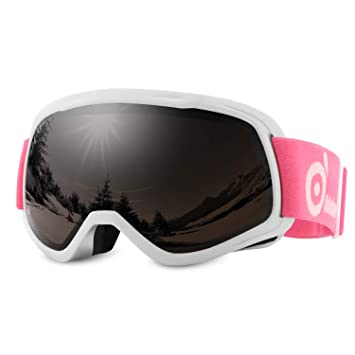 Odoland Lunettes de Ski Masque de Snowboard pour Enfants-Anti-UV400, Anti- 851fe9e29b0a