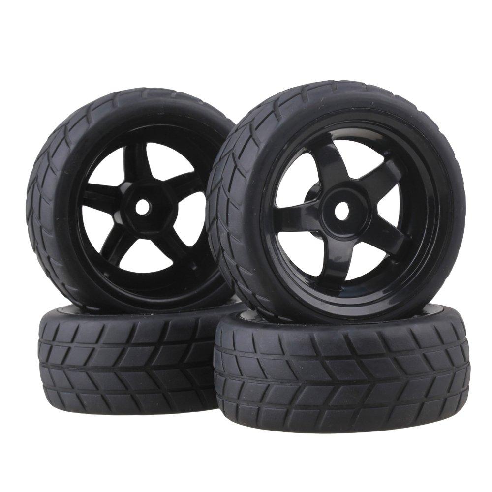 4 Black Rc 1 10 Flat Car Drift Truck 12mm Hub Wheel Rims 5