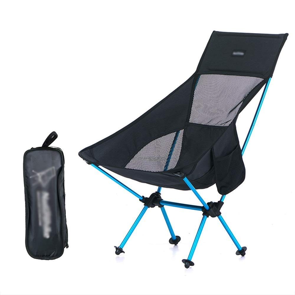 Outdoor Folding Chair with Backrest Aluminum Alloy Modern Minimalist Lightweight Portable Multi-Function Camping Picnic Travel Fishing Mountaineering BBQ Outdoor 2 Colors Optional (Color : Black)