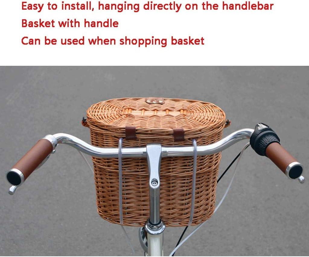 Bicycle Basket For Girls Women Hand-Woven Natural Rattan Bike Handlebar Front US