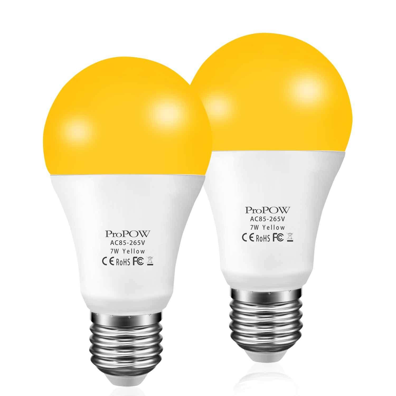 Dusk To Dawn Porch Light Bulb: Amber Yellow LED Bug Light Bulb,ProPOW 7W Dusk To Dawn Bug