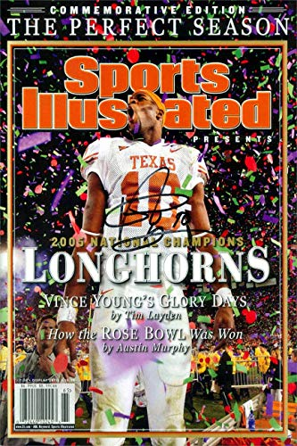 - Vince Young Sports Illustrated Autograph Replica Super Print - Championship Commemorative - Texas Longhorns - 2006 - Unframed