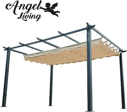 Angel Living® Pérgola de Aluminio con Techo Retráctil, Pabellón con Diseño Elegante, Cenador con Tela de Poliéster Resistente al Agua ya UV, Uso para ...