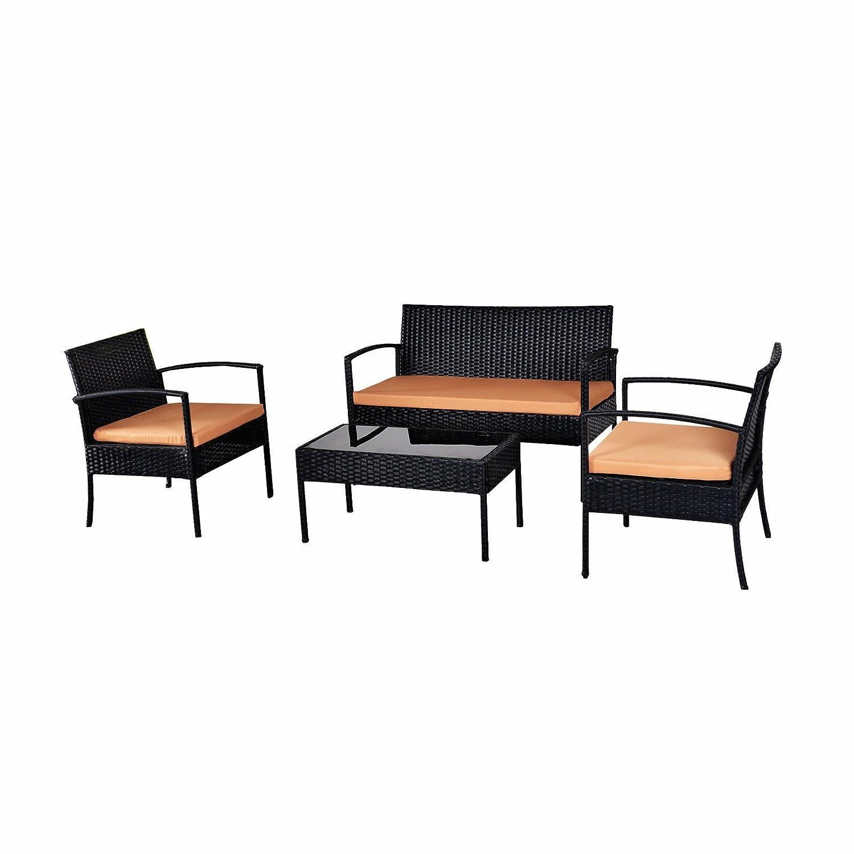 EBS® Polyrattan Gartenmöbel Set Gartengarnitur Sitzgruppe Lounge 1 Tisch 1  Kleines Sofa 2 Stühle Braun Sitzkissen Günstig Bestellen