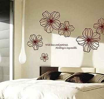 ufengke® bellissimi fiori adesivi murali, camera da letto ... - Decorazioni Muro Camera Da Letto