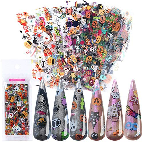 Lookathot 10Sheets Laser Halloween Christmas Snowflakes Pattern Sky Stars Nail Art Stickers Symphony Foil Paper Printing Transfer Acrylic Decals DIY Decoration Tools ()