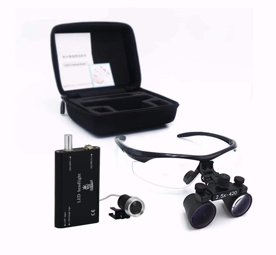 Doc.Royal 2.5X420mm Surgical Medical Binocular Loupes Black Frame And Black Cones With Black Cloth Bag by Doc.Royal