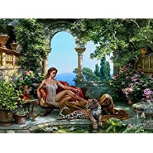 Frameless Tiger and Sex Girls DIY Painting By Numbers Kits Acrylic Painting on Canvas