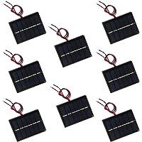 NUZAMAS Set of 8 Pieces 3V 65x48MM Micro Mini Solar Panel Cells, Wired, for Solar Power Energy, DIY Home, Garden Light…