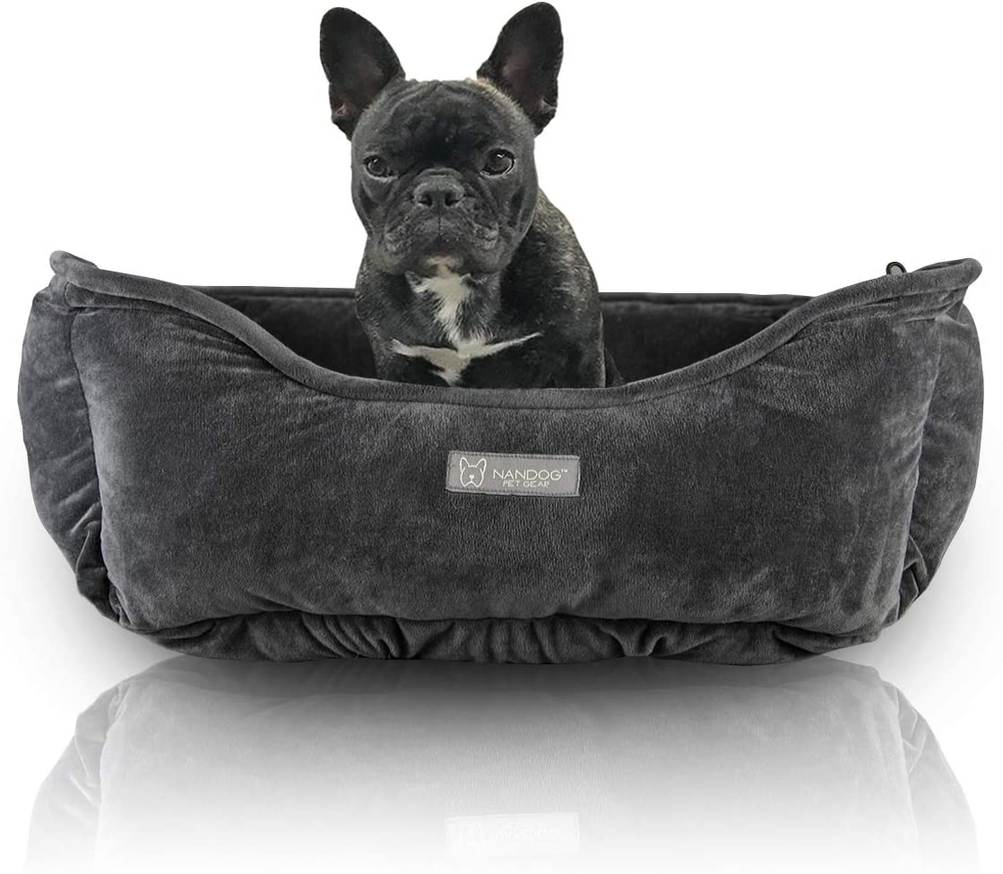 NANDOG Luxury Dog Car Seat Cloud Bed – Reversible Pet Cushion for Home Travel – Soft, Warm, Calming Pet Lounger for Small Medium-Sized Breed – Modern Style Snuggle Couch – 25 x 21 x 10 Inches