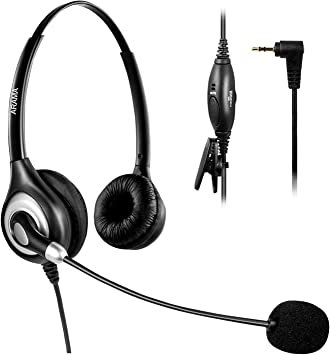 Arama A600CP - Auriculares de Diadema para Siemens Gigaset Panasonic Grandstream Polycom (micrófono con cancelación de Ruido, 2,5 mm) A602: Amazon.es: Electrónica
