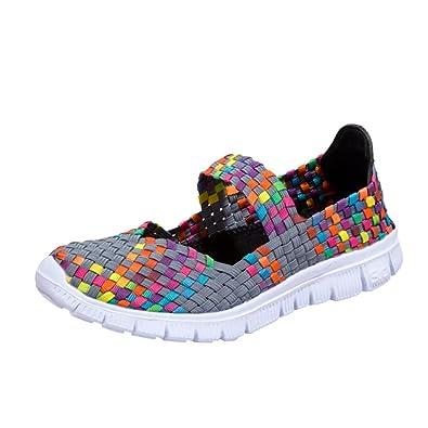 5812972a2e04 Chaussures de Sports Femme CIELLTE 2018 Mode Sneakers Baskets Chaussures  Plates Multicolore Tissé Sandales Respirantes Décontractées