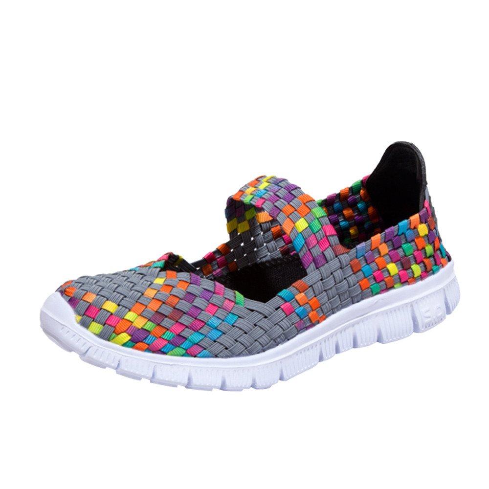Kauneus Women Slip on Walking Shoes Weave Elastic Mary Jane Flat Lightweight Fashion Sneakers Gray