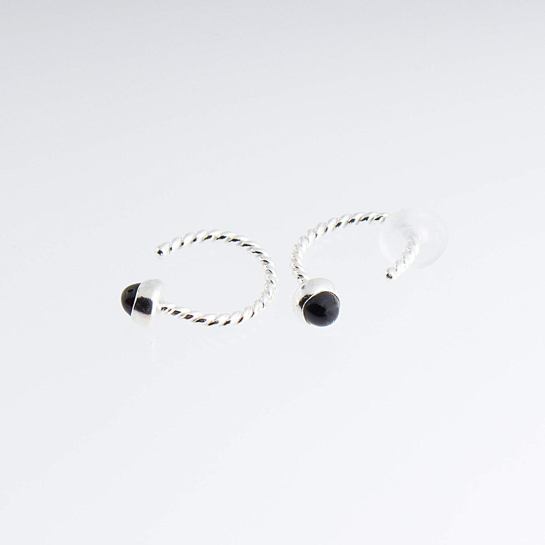 Sterling Silver Open Hoop Hugger Hugging Earrings with 3mm Small Black Onyx Stone SS-D9-TW-20GA-3MM-Onyx