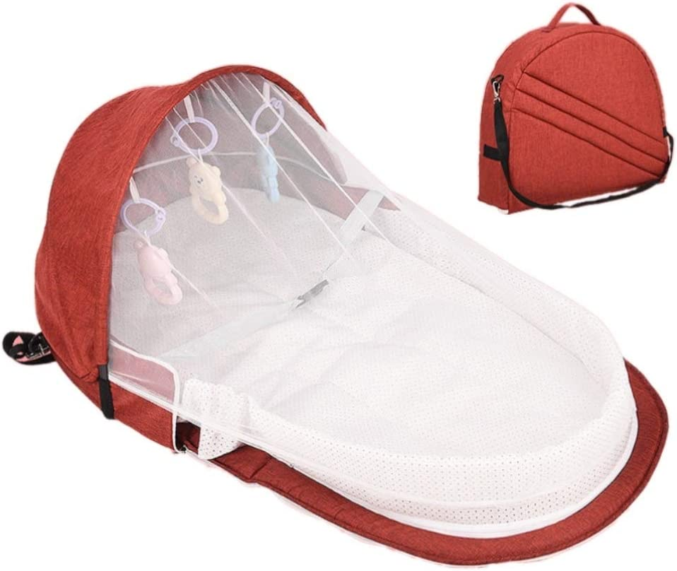 Mosquito Net Sleeping Basket with Toys Rowentauk Baby Bassinets Portable Foldable Baby Travel Bed Infant Lounger Sleeper Crib with Canopy