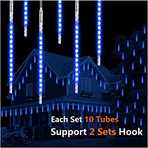 ohCome Meteor Shower Rain Drop Lights 50cm 10 Spiral Tubes 540 LEDs Waterproof Icicle Snowfall String Lights for Wedding Christmas Halloween Garden Tree Home Decor, Support 2 Sets Hook (Blue)