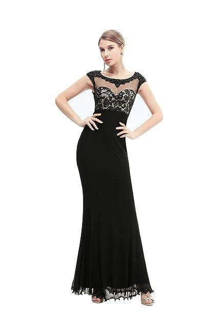 Vestido negro de encaje corte sirena