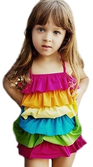 0b72d191bdf7bd Amazon | キッズ 子供 レインボー 水着 (サイズM(3~4歳)) | 水着 ...