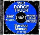 1981 Dodge Truck Shop Manual CD D150-D450 Pickup W150W450 Power Ram Ramcharger