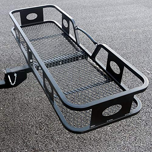 Folding Receiver Hitch Bar - 500LBS Cargo Carrier Basket Hitch Mount Heavy Duty Steel 2