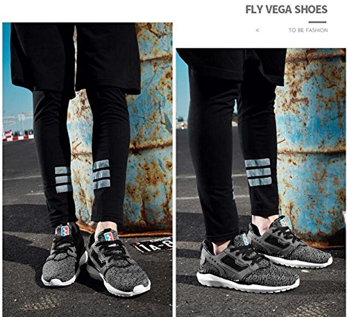 Onfly Bomba Tejido Malla Hilado de red Zapatos deportivos Zapatos casuales Hombres Respirable Color puro Cordon de zapato Antideslizante Snekers Zapatos para correr Conducción Zapatos Tamaño de la UE  Dark gray