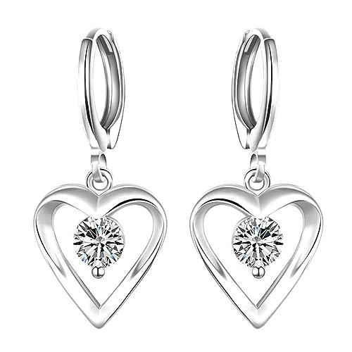 super popular de069 8111b AMDXD Chapado en oro Mujer Aretes Oro blanco Hollow Corazón ...