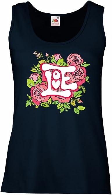 lepni.me Camisetas sin Mangas para Mujer ¡Amor y Rosas ...
