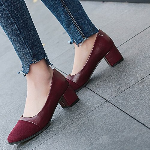Charm Foot Womens Vintage Round Toe Chunky Mid Heel Pumps Shoes Wine Red NXMyvvPi
