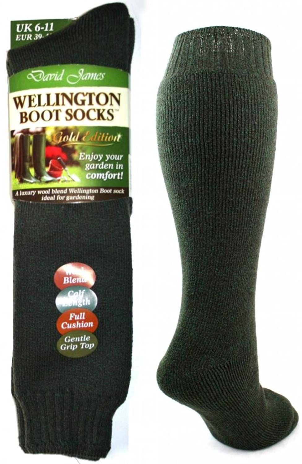 Mens Wool Blend Wellington Boot Socks Green Brown 6 11 Amazonco