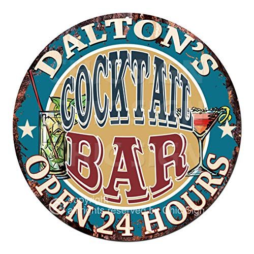 Dalton'S Cocktail BAR Open 24 Hours Chic Tin Sign Rustic Shabby Vintage Style Retro Kitchen Bar Pub Coffee Shop Man cave Garage Decor Gift Ideas