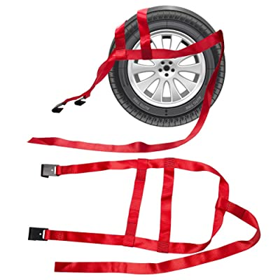 B4B BANG 4 BUCK 2 Packs 15 to 20 Inch Rim Universal Adjustable Tie Down Tow Straps for Demco Kar Kaddy Dollys with 2 Flat Hooks 6600 lb Breaking Strain: Automotive